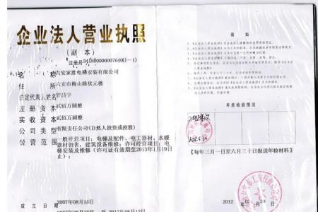 六安家胜电梯-企业法人营业执照