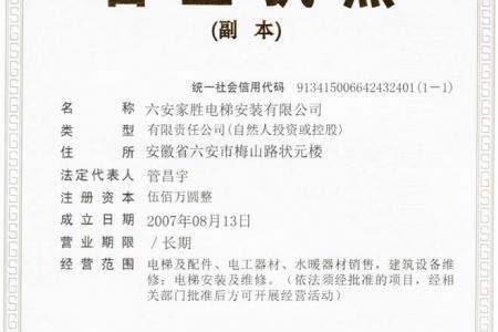 六安家胜电梯-营业执照